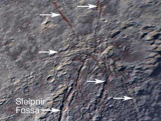 Pluto's unusual spider-like feature consists of at least six extensional fractures that converge to a point. Individual fractures can reach hundreds of miles long and appear to expose a reddish subsurface layer. Image credits: NASA/JHUAPL/SwRI.