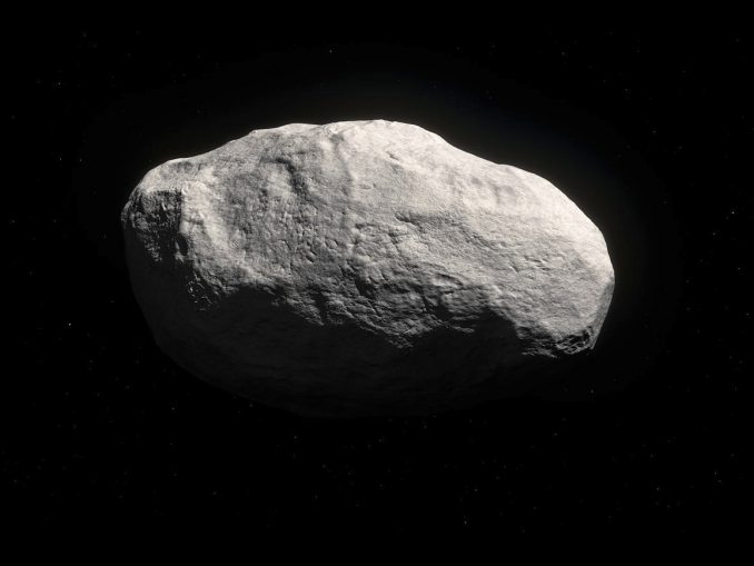 Artist's impression of the unique object C/2014 S3 (PANSTARRS). Observations show that this is the first object to be discovered that is on a long-period cometary orbit, but that has the characteristics of a pristine inner Solar System asteroid. Because the object has spent most of its life in the outer solar System it suffered very few collisions, and its surface displays few or no craters. As it formed in the same region as the Earth did, it is mostly rocky, and therefore has only very limited cometary activity. Illustration credit: ESO/M. Kornmesser.