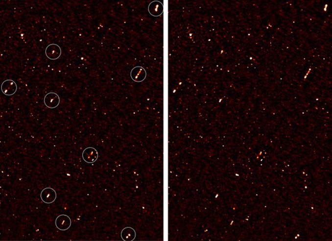 An image of the deep radio map covering the ELAIS-N1 region, with aligned galaxy jets. The image on the left has white circles around the aligned galaxies; the image on the right is without the circles. Image credits: Prof. Russ Taylor.
