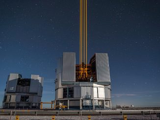 This spectacular image of four powerful beams emerging from the new laser system on Unit Telescope 4 form a crucial part of the adaptive optics systems on ESO's Very Large Telescope. These are the most powerful laser guide stars ever used for astronomy and mark the first use of multiple laser guide stars at ESO. Image credit: ESO/F. Kamphues.