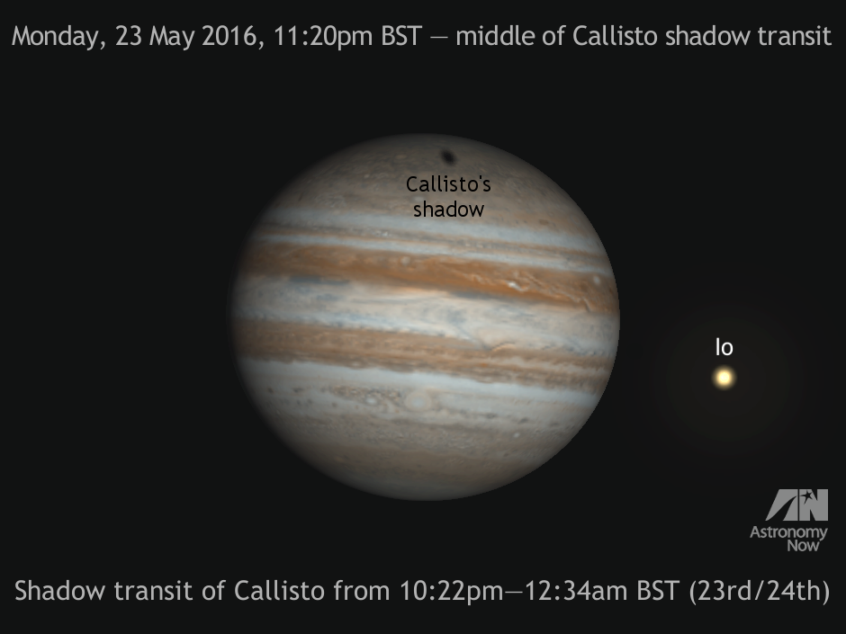On the night of 23—24May, clear UK skies will permit you to observe the shadow of Callisto, Jupiter's outermost Galilean moon, crossing the northern polar regions of the planet. The event lasts from 10:22pmBST on Monday, 23May until 12:34amBST the following morning. Phenomena of Jovian moons Io, Europa and Ganymede are also listed in the article below in addition to the planet's Great Red Spot. AN graphic by AdeAshford.