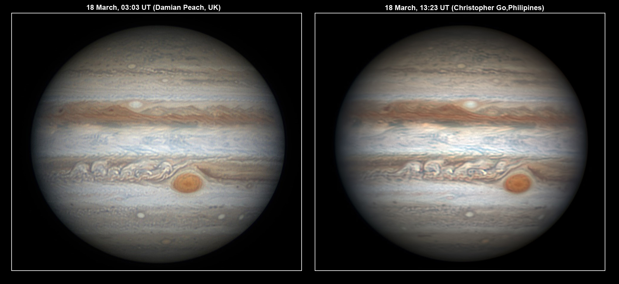 Scientists expect to characterise the state of Jupiter's atmosphere from high-resolution observations obtained by amateur astronomers. By comparing images of Jupiter obtained from different locations on Earth over time, they can observe the same areas of the planet repeatedly and obtain information such as the intensity of the winds and the activity of storms in the planet. The image on the left was obtained using a 40-cm diameter telescope and a fast black and white camera equipped with colour filters by Damian Peach during a trip to Barbados. The image on the right was obtained by Christopher Go from the Philippines using similar equipment. Image credit: D. Peach/C. Go.