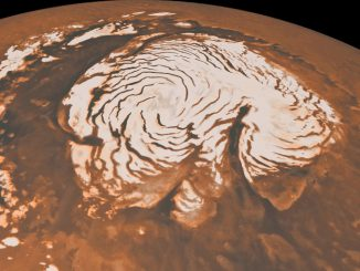 Combining Mars Reconnaissance Orbiter radar data with images of Mars' north pole, a Southwest Research Institute team found evidence for an ice age on the Red Planet. This image is from NASA's Mars Global Surveyor. Image credit: NASA/JPL-Caltech/MSSS.