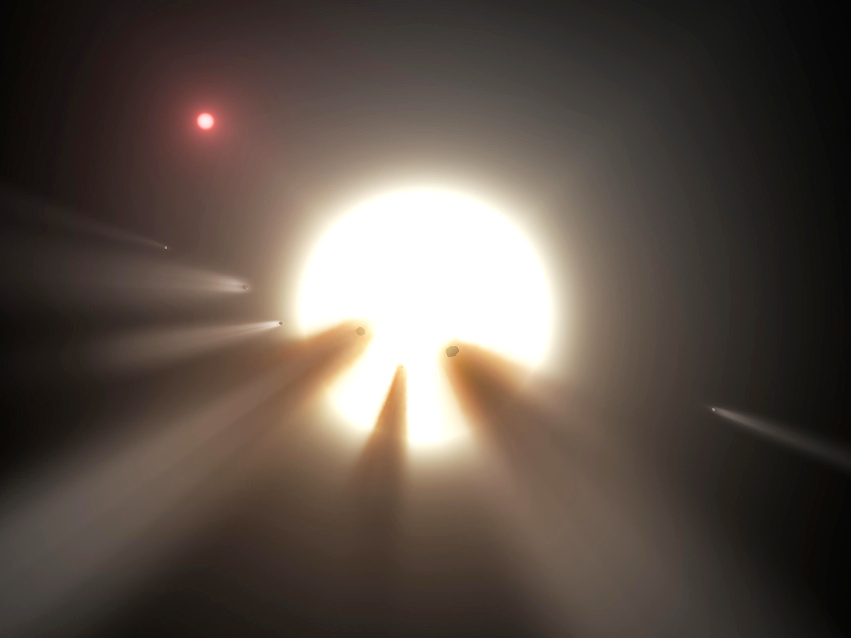 Artist's impression of an orbiting swarm of dusty comet fragments, which are a possible explanation for the unusual light signal of KIC 8462852, popularly known as Tabby's star, about 1,480 light-years away in the constellation Cygnus. Image creditNASA/JPL-Caltech.