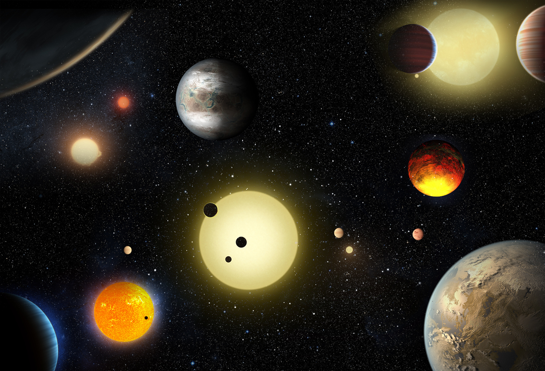 This artist's concept depicts select planetary discoveries made to date by NASA's Kepler space telescope. Illustration credits: NASA/W. Stenzel.