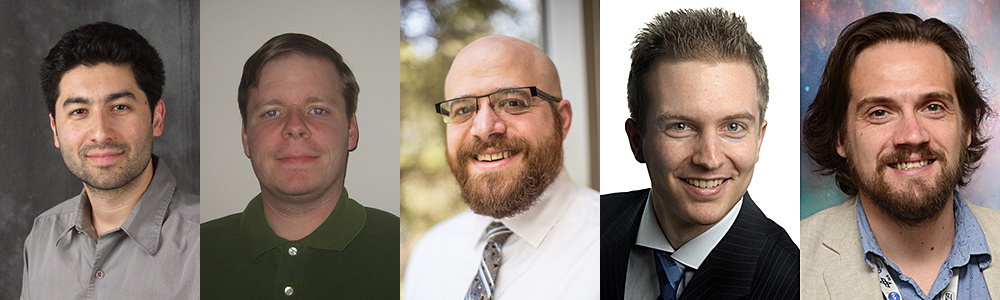 The Vanderbilt-Lehigh team (from left to middle): Keivan Stassun, Michael Lund and Joshua Pepper. Michael Hippke (second from right) and Daniel Angerhausen. Image credits: Vanderbilt University, Michael Hippke, Daniel Angerhausen.