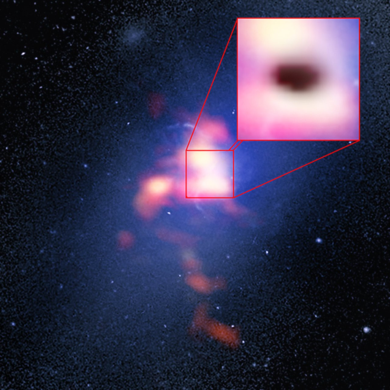 """The background image of the Abell 2597 Brightest Cluster Galaxy (blue) is from the NASA/ESA Hubble Space Telescope. The foreground (red) is ALMA data showing the distribution of carbon monoxide gas in and around the galaxy. The pull-out box shows the ALMA data of the """"shadow"""" (black) produced by absorption of the millimetre-wavelength light emitted by electrons whizzing around powerful magnetic fields generated by the galaxy's supermassive black hole. The shadow indicates that cold clouds of molecular gas are raining in on the black hole. Image credit: B. Saxton (NRAO/AUI/NSF)/G. Tremblay et al./NASA/ESA Hubble/ALMA (ESO/NAOJ/NRAO)."""