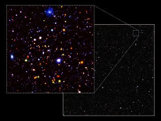 An image of a small section (0.4 percent) of the UDS field. Most of the objects in the image are very distant galaxies, observed as they were over 9 billion years ago. In the full image, 250,000 galaxies have been detected over an area of sky four times the size of the full Moon. Image credit: Omar Almaini/University of Nottingham.