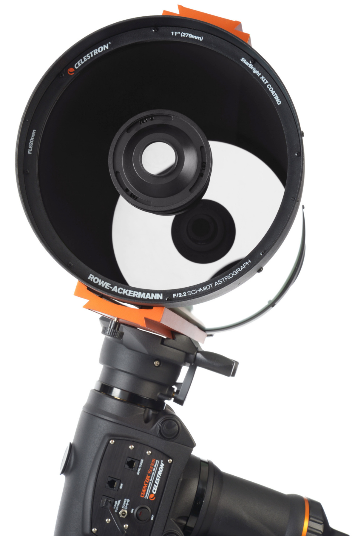 Celestron's new 280mm (11-inch) aperture f/2.2 Rowe-Ackermann Schmidt Astrograph is a heavyweight imaging system in every sense of the word. Its 84cm-long, 32cm diameter optical tube tips the scales at 43lb (19.5kg), so it requires a CGEM-DX or GGE Pro-class German equatorial mount or larger. Full length Losmandy-style D-plate mounting bars are provided top and bottom for mounting the OTA and a separate guidescope. Image credit: AN.