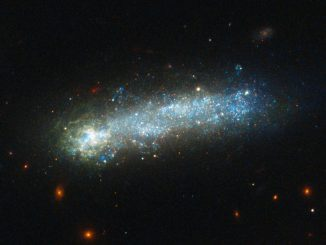 "In this new image from the NASA/ESA Hubble Space Telescope, a firestorm of star birth is lighting up one end of the diminutive galaxy LEDA 36252 — also known as Kiso 5649. The galaxy belongs to a class of galaxies called ""tadpoles"" because of their bright heads and elongated tails. LEDA 36252 is relatively nearby, at a distance of 80 million light-years. Tadpoles are rare in the local universe but common in the distant universe, suggesting that many galaxies pass through a phase like this as they evolve. Image credit: NASA, ESA, and D. Elmegreen (Vassar College), B. Elmegreen (IBM's Thomas J. Watson Research Center), J. Almeida, C. Munoz-Tunon, and M. Filho (Instituto de Astrofisica de Canarias), J. Mendez-Abreu (University of St. Andrews), J. Gallagher (University of Wisconsin-Madison), M. Rafelski (NASA Goddard Space Flight Center), and D. Ceverino (Center for Astronomy at Heidelberg University)."