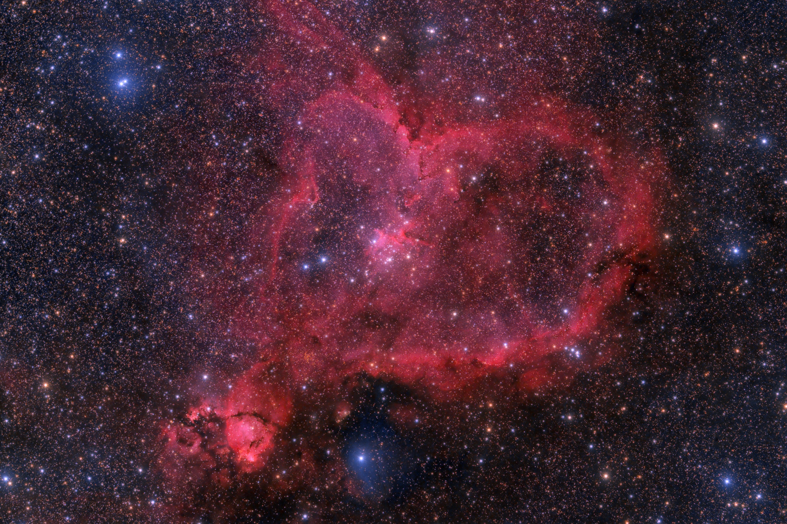 Jimmy Walker's fantastic image of the emission Heart Nebula (IC 1805) was captured with a FLI Microline 11002 CCD camera on the RASA in 12 x five-minute unguided exposures on a Bisque mount under New Mexico skies. Image credit: © Jimmy Walker, used with permission.