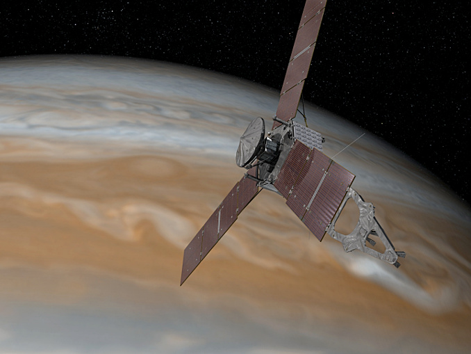 This artist's rendering shows NASA's Juno spacecraft above the north pole of Jupiter on 4July. Illustration credits: NASA/JPL-Caltech.