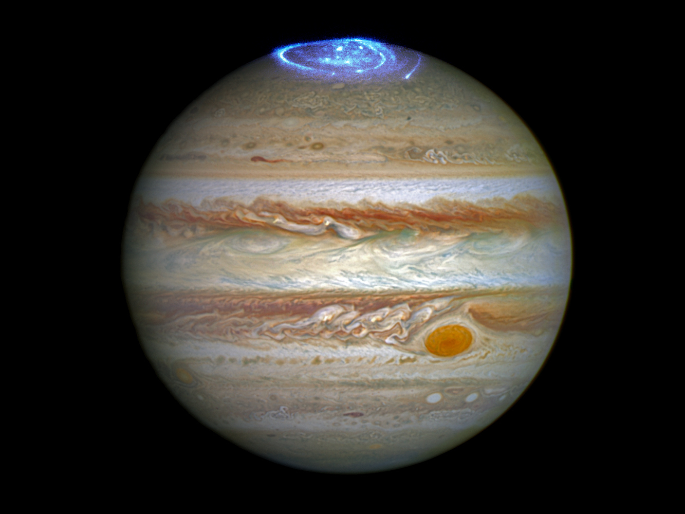Using a series of far-ultraviolet images from Hubble's Space Telescope Imaging Spectrograph, it is possible for scientists to follow the movement of Jupiter's vivid aurorae, which cover areas bigger than the Earth. Not only are the aurorae huge in size, they are also hundreds of times more energetic than aurorae on Earth. And, unlike those on Earth, they never cease. Image credit: NASA, ESA, and J. Nichols (University of Leicester). Acknowledgment: A. Simon (NASA/GSFC) and the OPAL team.
