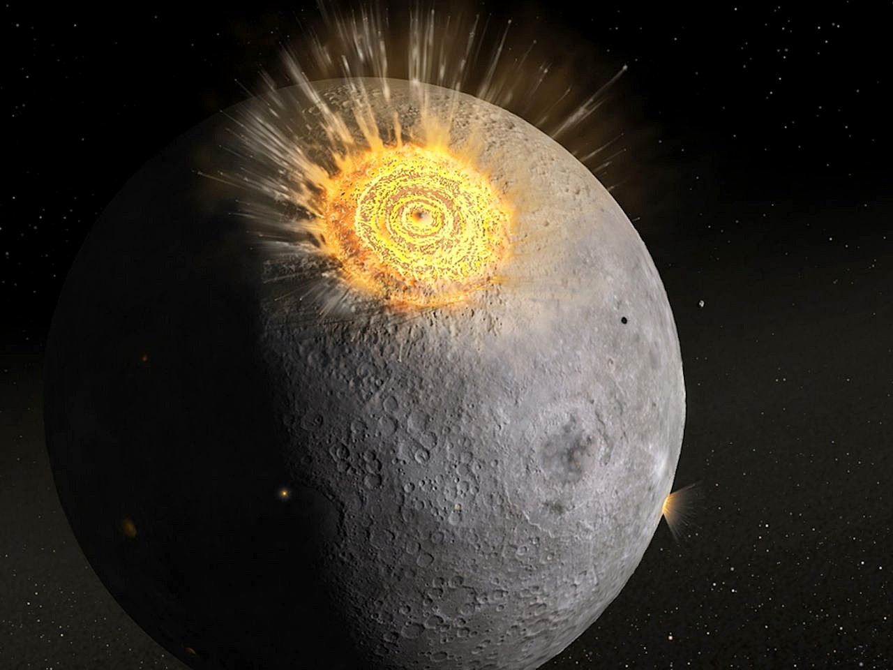 An artist's impression of how the early Moon was reshaped by an intense period of bombardment. A new study reveals that most of the water inside the Moon was delivered by asteroids (not comets) during our natural satellite's early evolution, approximately 4.5—4.3billion years ago. Illustration credit: Daniel D. Durda/FIAAA.