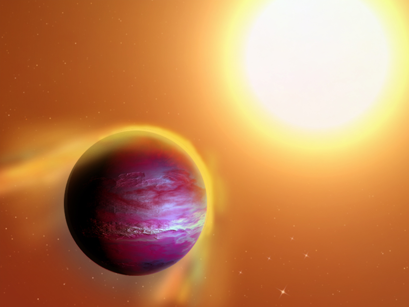 An artist's impression of likely new giant planet PTFO8-8695b, which is believed to orbit a star in the constellation Orion every 11 hours. Gravity from the newborn star appears to be pulling away the outer layers of the Jupiter-like planet. Illustration credit: A. Passwaters/Rice University based on original available under CC license at https://commons.wikimedia.org/wiki/File:Kepler-70b.png
