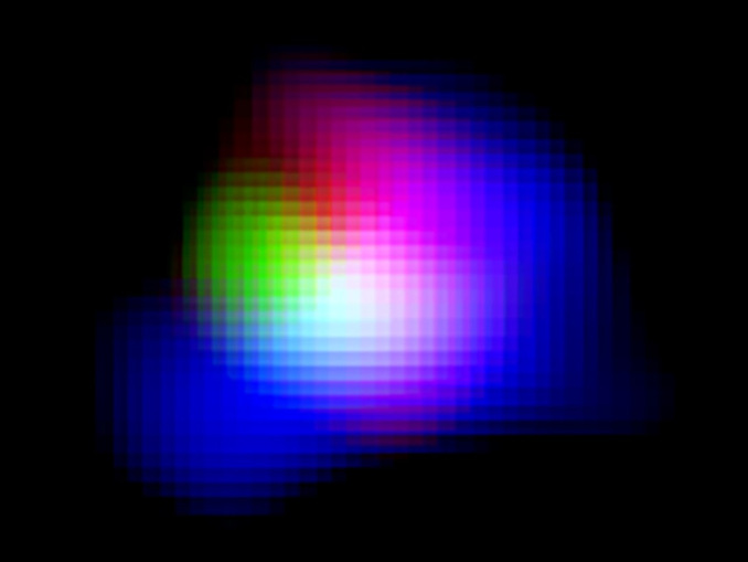 Light from ionised oxygen detected by ALMA is shown in green. Light from ionised hydrogen detected by the Subaru Telescope and ultraviolet light detected by the UK Infrared Telescope (UKIRT) are shown in blue and red, respectively. Image credit: ALMA (ESO/NAOJ/NRAO), NAOJ.