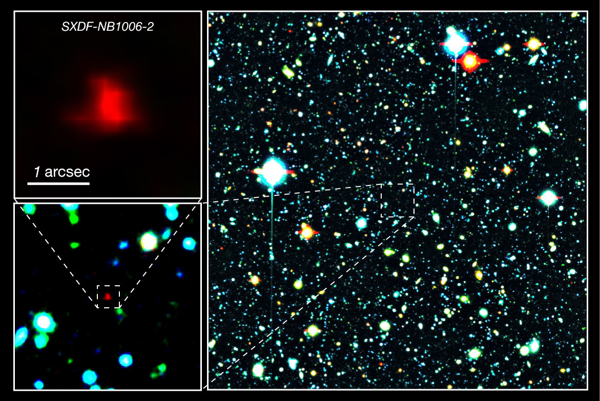 Right panel: The red galaxy at the centre of the image is the very distant galaxy, SXDF-NB1006-2. Left panels: Close-ups of the distant galaxy. Image credit: NAOJ.