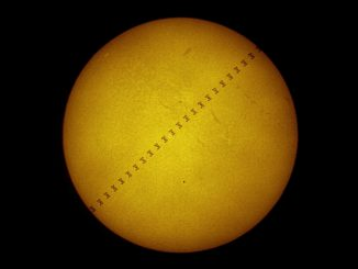 French astrophotographer Thierry Legault travelled to the suburbs of Philadelphia, USA to capture both the International Space Station and planet Mercury transiting the Sun on Monday, 9 May. The image here includes frames superimposed on each other to show the Station's path in the fraction of a second it took to cross the face of the Sun, while Mercury appears as a black dot at bottom-centre of the Sun. Image credit: © Thierry Legault.