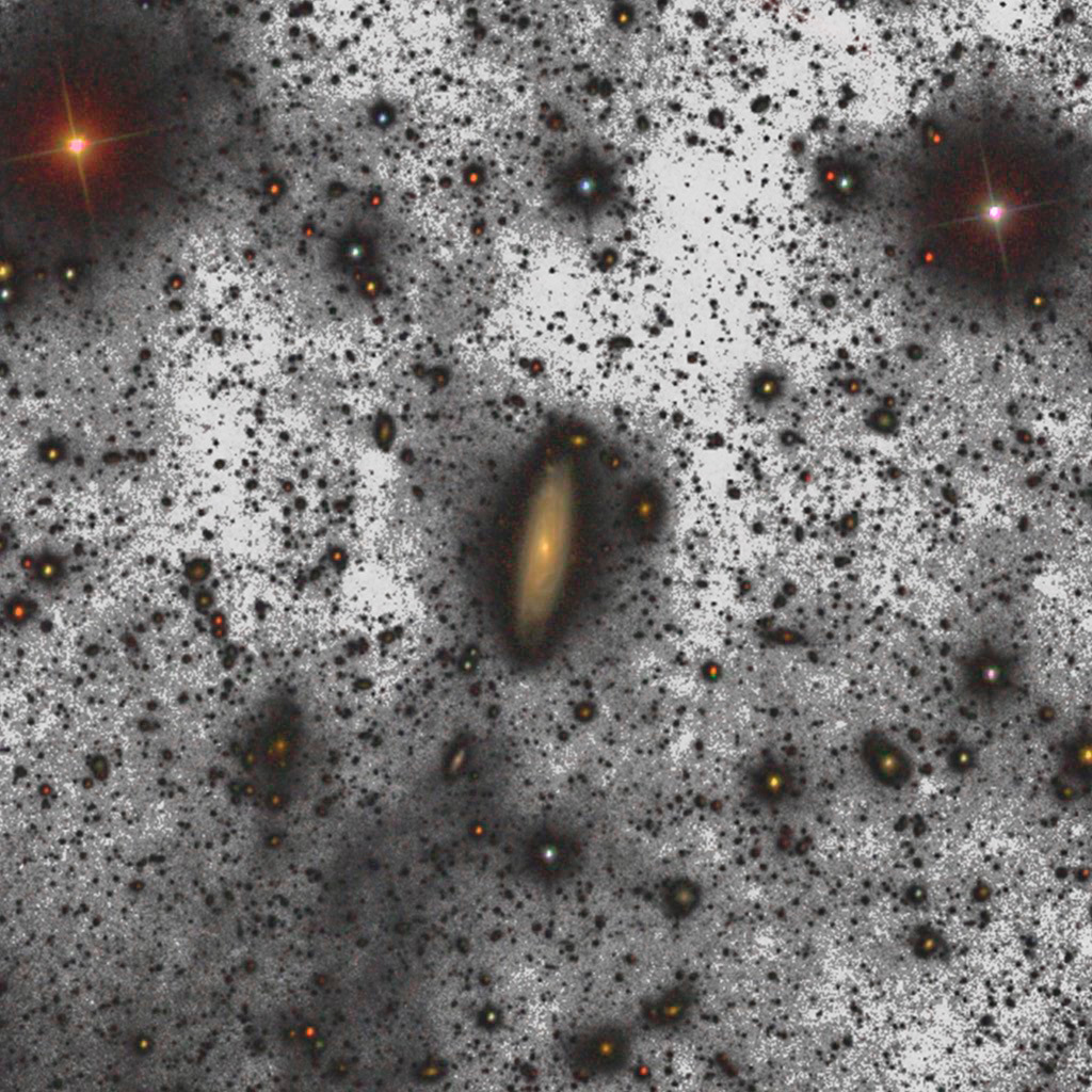 This image shows a weak halo composed of four thousand million stars around the galaxy known as UGC00180. It lies 500million light-years from Earth. Image credit: Gran Telescopio CANARIAS (GTC) / Gabriel Pérez (IAC).