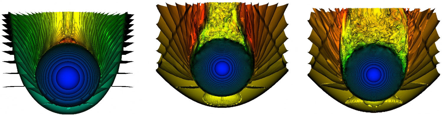 """A sequence of snapshots from a simulation showing a red giant star tunnelling through a high density gas clump. The star is moving downward in the illustration, as indicated by the bow-shaped """"onion skin"""" surfaces of constant density. Soon after the star plunges into the clump, it develops a high temperature """"blister"""" at the point of impact and a full turbulent wake behind it. Click the graphic for a full-size version. Illustration credit: Georgia Tech."""