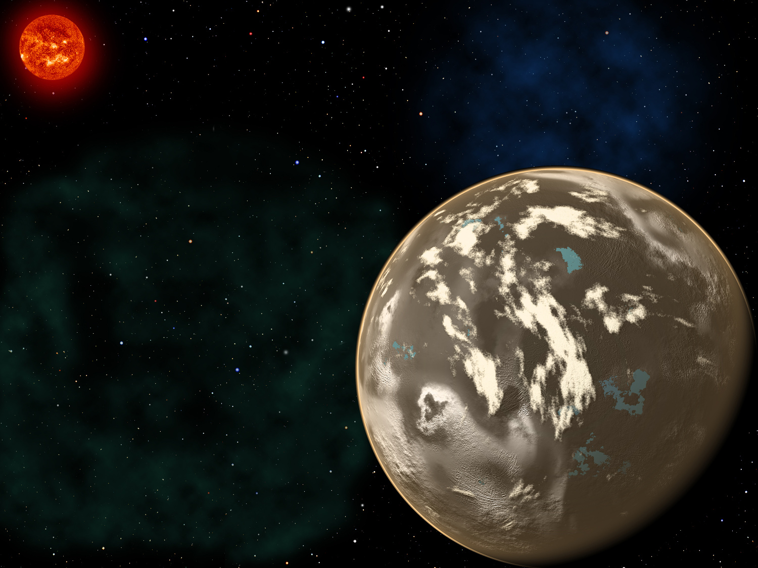 In this artist's conception, a carbon planet orbits a Sun-like star in the early universe. Young planetary systems lacking heavy chemical elements but relatively rich in carbon could form worlds made of graphite, carbides and diamond rather than Earth-like silicate rocks. Blue patches show where water has pooled on the planet's surface, forming potential habitats for alien life. Image credit: Christine Pulliam (CfA). Sun image: NASA/SDO.