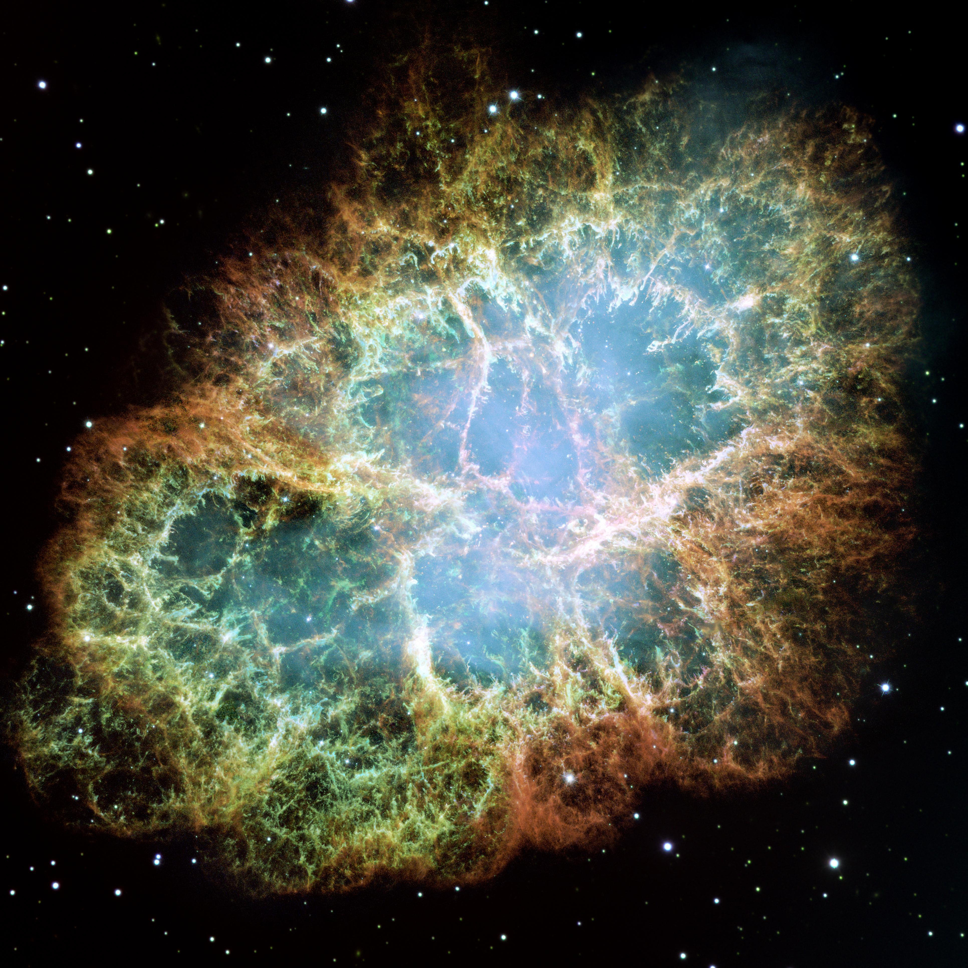 The best-known wind nebula is the Crab Nebula, located about 6,500light-years away in the constellation Taurus. At the centre is a rapidly spinning neutron star that accelerates charged particles like electrons to nearly the speed of light. As they whirl around magnetic field lines, the particles emit a bluish glow. This image is a composite of Hubble observations taken in late 1999 and early 2000. The Crab Nebula spans about 11light-years. Image credits: NASA, ESA, J. Hester and A. Loll (Arizona State University).