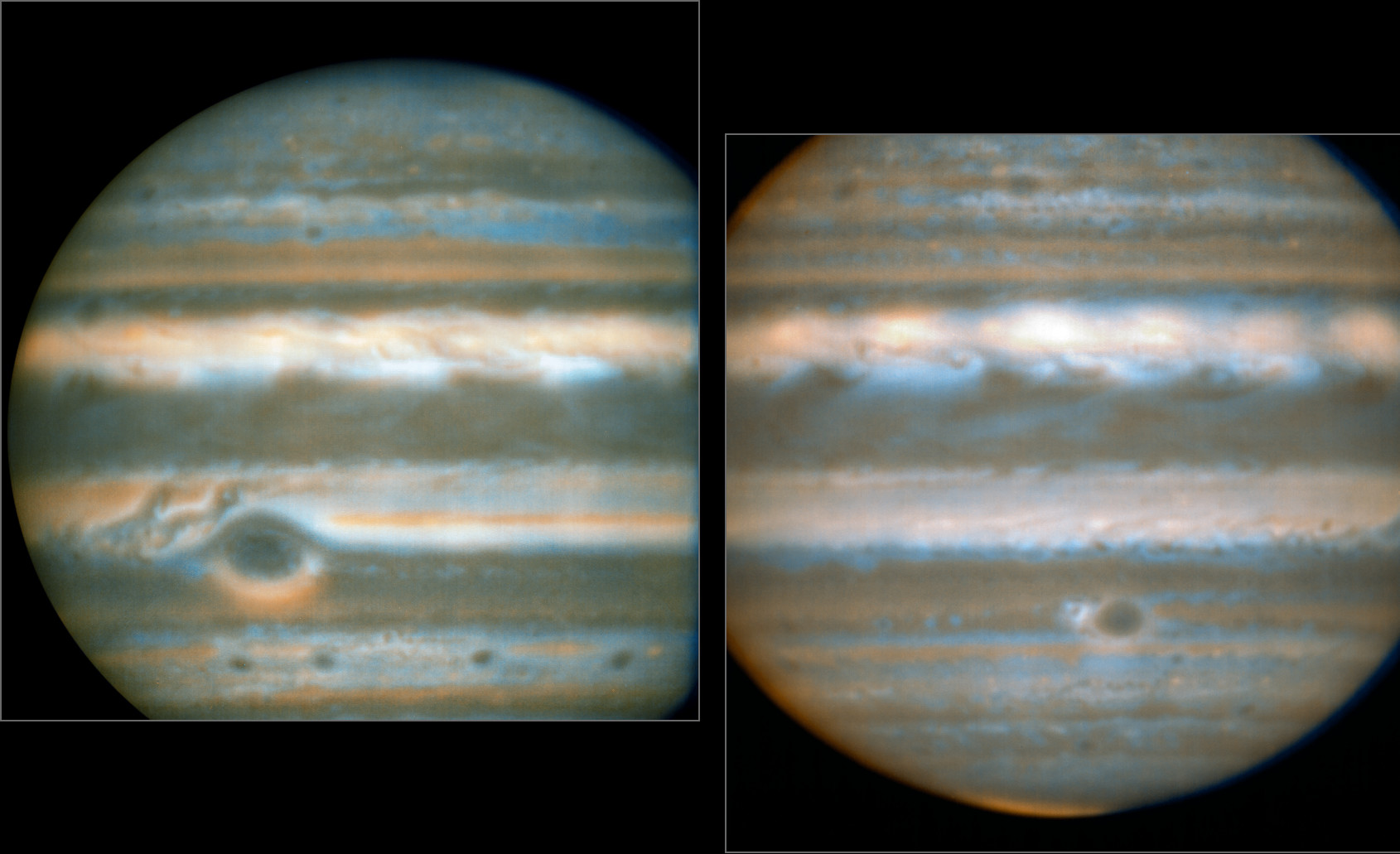 False colour images generated from VLT observations in February2016 (left) and March2016 (right), showing two different faces of Jupiter. The bluer areas are cold and cloud-free, the orangey areas are warm and cloudy, more colourless bright regions are warm and cloud-free, and dark regions are cold and cloudy (such as the Great Red Spot and the prominent ovals). The wave pattern over the North Equatorial Band shows up in orange. These views were created from VLT/VISIR infrared images. The orange images were obtained at 10.7micrometres wavelength and highlight the different temperatures and presence of ammonia. The blue images at 8.6micrometres highlight variations in cloud opacity. Image credit: ESO/L. Fletcher.