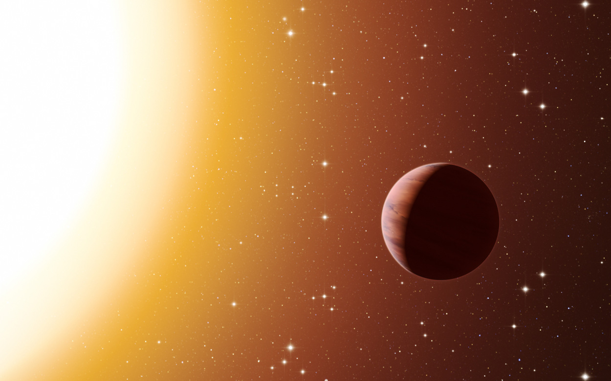 This artist's impression shows a hot Jupiter planet orbiting close to one of the stars in the rich old star cluster Messier67, in the constellation of Cancer (The Crab). Astronomers have found far more planets like this in the cluster than expected. This surprise result was obtained using a number of telescopes and instruments, among them the HARPS spectrograph at ESO's La Silla Observatory in Chile. The denser environment in a cluster will cause more frequent interactions between planets and nearby stars, which may explain the excess of hot Jupiters. Illustration credit: ESO/L. Calçada.