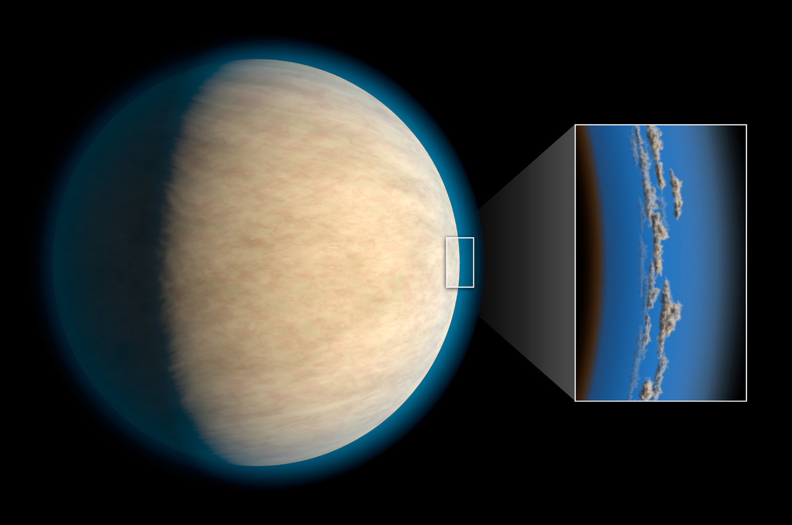 Hot Jupiters, exoplanets around the same size as Jupiter that orbit very closely to their stars, often have cloud or haze layers in their atmospheres. This may prevent space telescopes from detecting atmospheric water that lies beneath the clouds, according to a study in the Astrophysical Journal. Image credit: NASA/JPL-Caltech.