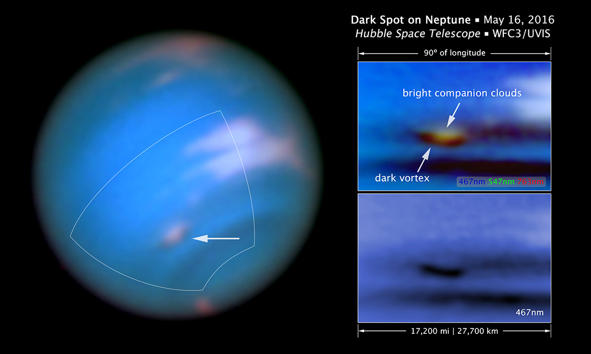 The full visible-light image at left shows that the dark feature resides near and below a patch of bright clouds in the planet's southern hemisphere. The dark spot measures roughly 3,000miles (4,800kilometres) across. Other high-altitude clouds can be seen at the planet's equatorial region and polar regions. The full-colour image at top right is a close-up of the complex feature. Pancake-shaped clouds above the spot form when ambient air is perturbed and diverted upward over the vortex. The vortex is a high-pressure system. The image at bottom right shows that the vortex is best seen at blue wavelengths. Only Hubble has the high resolution required for identifying such weather features on distant Neptune. Image credit: NASA, ESA, and Z. Levay (STScI). Acknowledgment: M.H. Wong and J. Tollefson (UC Berkeley).