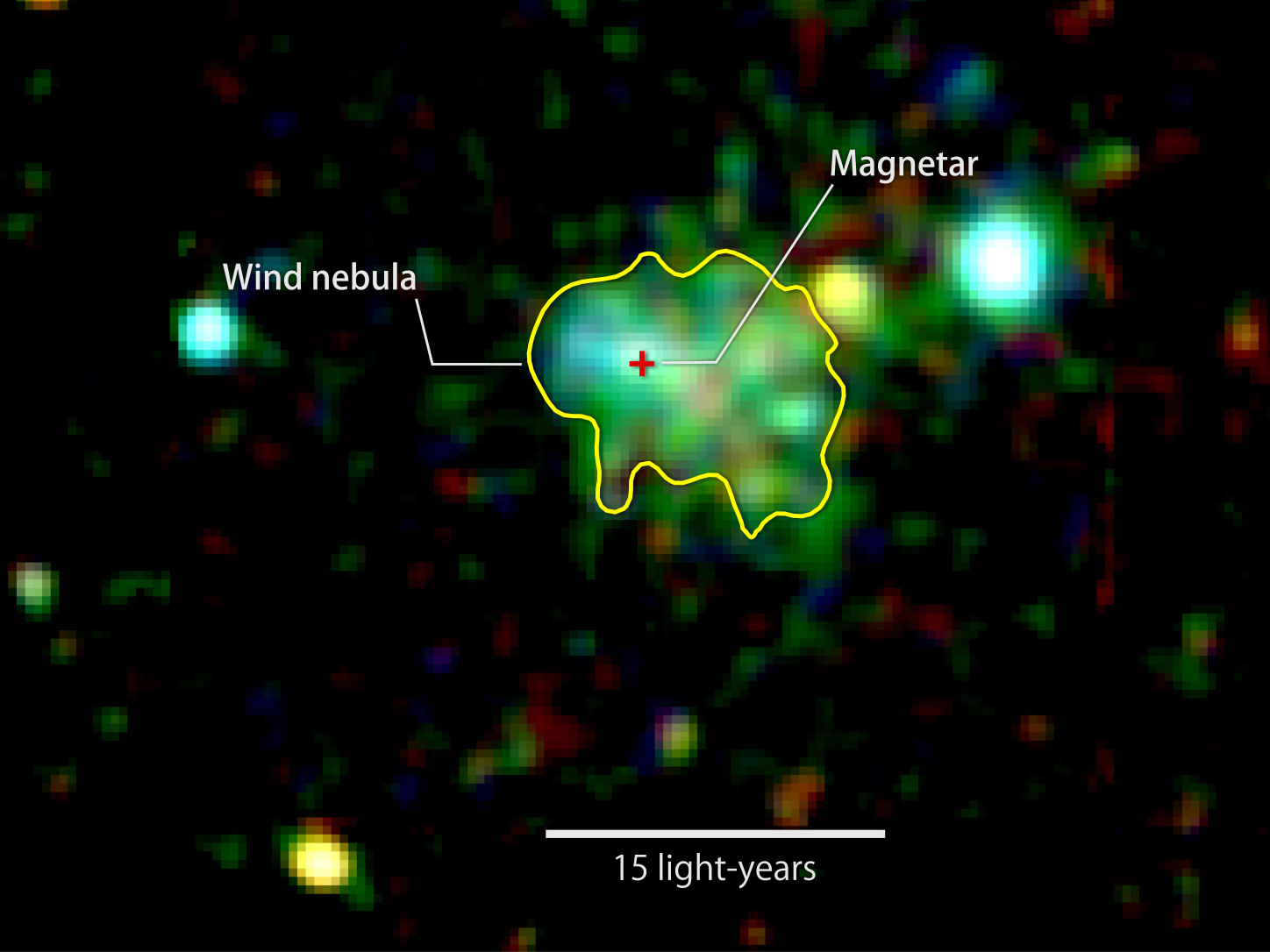 This X-ray image shows extended emission around a source known as Swift J1834.9-0846, a rare ultra-magnetic neutron star called a magnetar. The glow arises from a cloud of fast-moving particles produced by the neutron star and corralled around it. Colour indicates X-ray energies, with 2,000-3,000 electron volts (eV) in red, 3,000-4,500 eV in green, and 5,000 to 10,000 eV in blue. The image combines observations by the European Space Agency's XMM-Newton spacecraft taken on 16 March and 16 October 2014. Image credits: ESA/XMM-Newton/Younes et al. 2016.