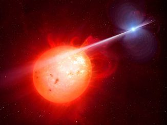 This artist's impression shows the strange object AR Scorpii. In this unique double star a rapidly spinning white dwarf star (right) powers electrons up to almost the speed of light. These high energy particles release blasts of radiation that lash the companion red dwarf star (left) and cause the entire system to pulse dramatically every 1.97 minutes with radiation ranging from the ultraviolet to radio. Image credit: M. Garlick/University of Warwick/ESO.