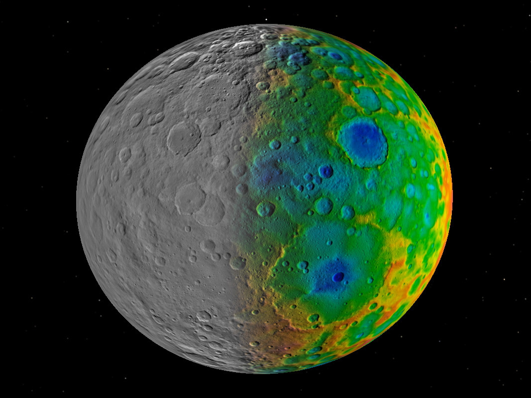 Scientists with NASA's Dawn mission were surprised to find that dwarf planet Ceres has no clear signs of truly giant impact basins. This image shows both visible (left) and topographic (right) mapping data from Dawn. Image credit: NASA/JPL-Caltech/SwRI.