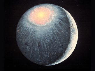 An artist's impression of the Moon's Imbrium Basin immediately after its formation, some 3.8billion years ago. Image credit: Don Davis.
