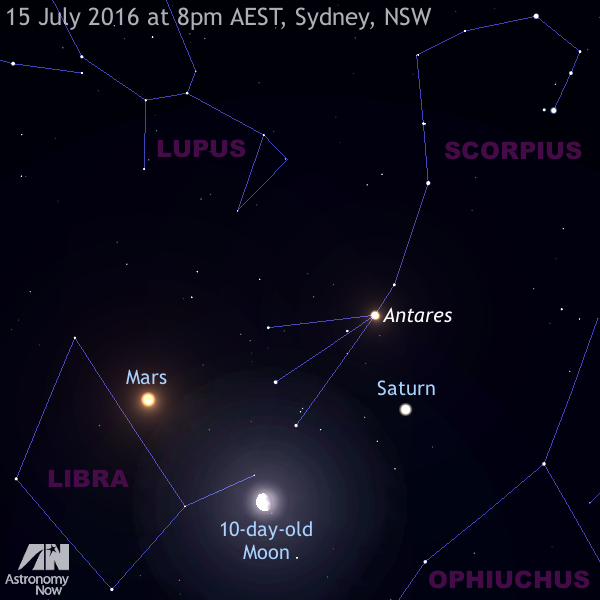 Mars, the Moon and Saturn lie to the north almost overhead as seen from Sydney, NSW at 8pm local time on Friday, 15July. AN illustration by AdeAshford.