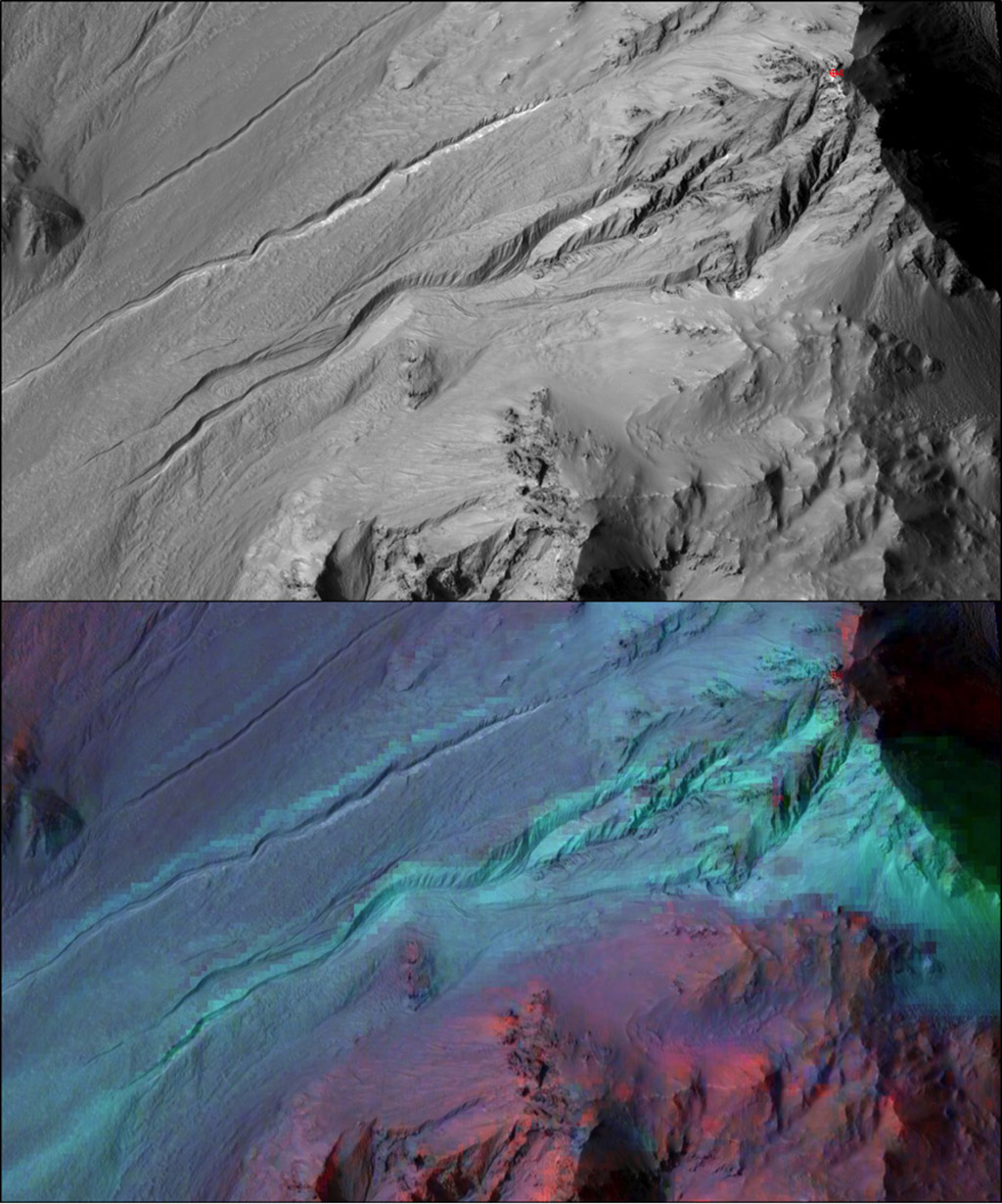 The highly incised Martian gullies seen in the top image resemble gullies on Earth that are carved by liquid water. However, when the gullies are observed with the addition of mineralogical information (bottom), no evidence for alteration by water appears.  The pictured area spans about 2miles (3kilometres) on the eastern rim of Hale Crater. The High Resolution Imaging Science Experiment (HiRISE) camera on NASA's Mars Reconnaissance Orbiter took the visible-light image. Colour-coded compositional information added in the lower version comes from the same orbiter's Compact Reconnaissance Imaging Spectrometer for Mars (CRISM). Image credit: NASA/JPL-Caltech/UA/JHUAPL.