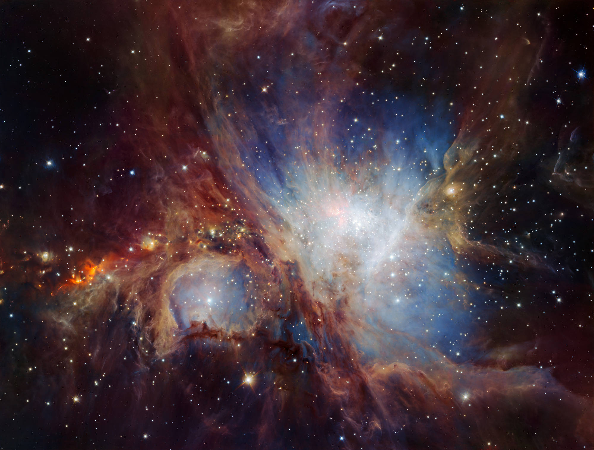 This spectacular image of the Orion Nebula star-formation region was obtained from multiple exposures using the HAWK-I infrared camera on ESO's Very Large Telescope in Chile. Otherwise known as Messier42, the OrionNebula is about 1,350light-years from Earth. This is the deepest view ever of this region and reveals more very faint planetary-mass objects than expected. Click the image for a large-scale version. Image credit: ESO/H.Drass et al.