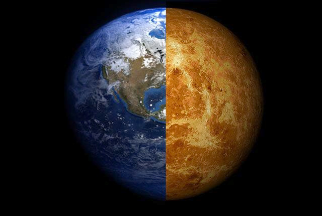 A composite image of Earth and Venus. Image credit: Arie Wilson Passwaters/Rice University.