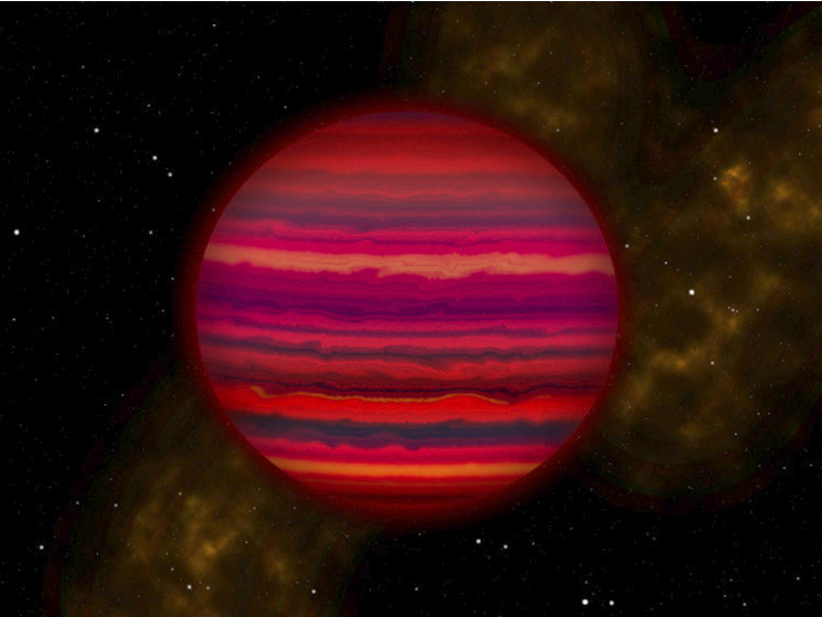 An artist's rendering of WISE0855 as it might appear if viewed up close in infrared light. Illustration credit: Joy Pollard, Gemini Observatory/AURA.