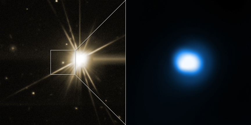 The image on the right shows the aftermath of the Gamma-ray burst (GRB) in X-rays with Chandra. Chandra observations of how the X-ray emission from this GRB decreases over time provide important information about the properties of the jet. The image on the left shows an optical view from the Discovery Channel Telescope (DCT) with GRB140903A in the middle of the square. The bright star in the optical image is unrelated to the GRB. Image credits: X-ray: NASA/CXC/Univ. of Maryland/E. Troja et al, Optical: Lowell Observatory's Discovery Channel Telescope/E.Troja et al.