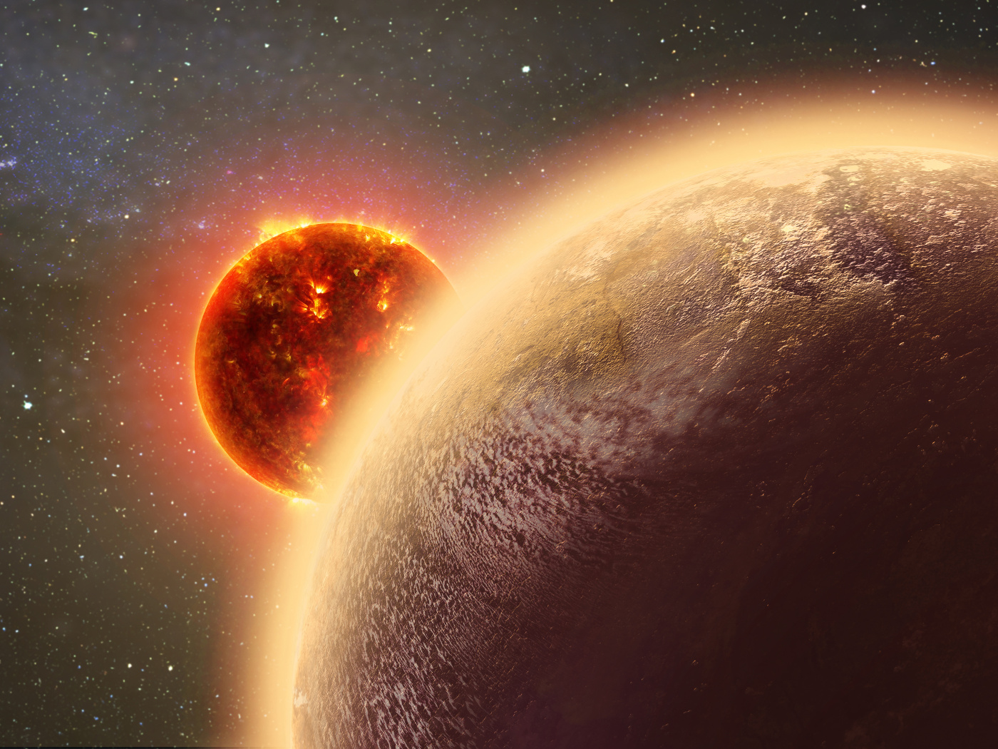 This artist's conception shows the rocky exoplanet GJ1132b, located 39 light-years from Earth. New research shows that it might possess a thin, oxygen atmosphere — but no life due to its extreme heat. Illustration credit: Dana Berry / Skyworks Digital / CfA.