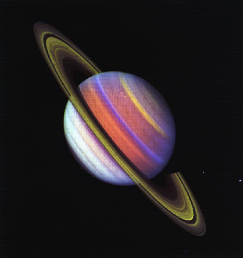 This psychedelic false-colour view of Saturn from Voyager 2 reveals structure in the planet's banded clouds. Image: NASA/JPL-Caltech.