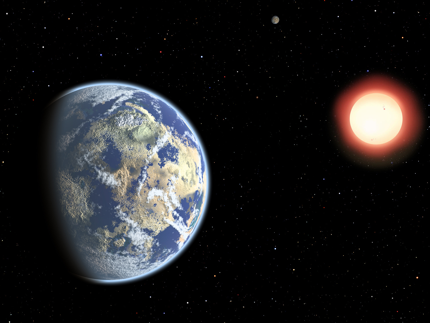 """This artist's conception shows a red dwarf star orbited by a pair of habitable planets. Since red dwarf stars live so long, the probability of cosmic life grows over time. As a result, Earthly life might be considered """"premature."""" Image credit: Christine Pulliam (CfA)."""