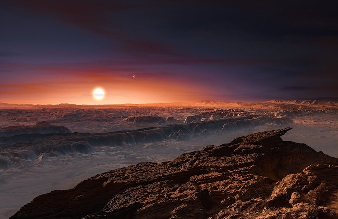 An artist's impression of what the surface of Proxima b might look like. Notice the red sky around the star and the darker sky elsewhere. Image: ESO/M Kornmesser.