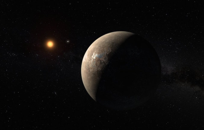 An artist's impression of Proxima b orbiting its red dwarf star. The double stars of Alpha Centauri can be seen between them. Image: ESO/M Kornmesser.