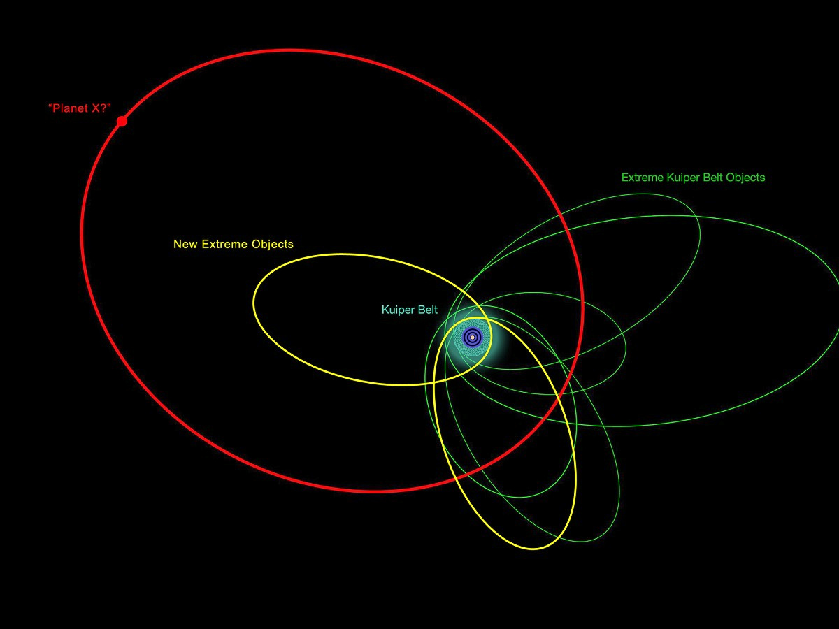 An illustration of the orbits of the new and previously known extremely distant solar system objects. The clustering of most of their orbits indicates that they are likely be influenced by something massive and very distant, the proposed PlanetX. Click the graphic for a larger-scale version. Image credit: Robin Dienel.