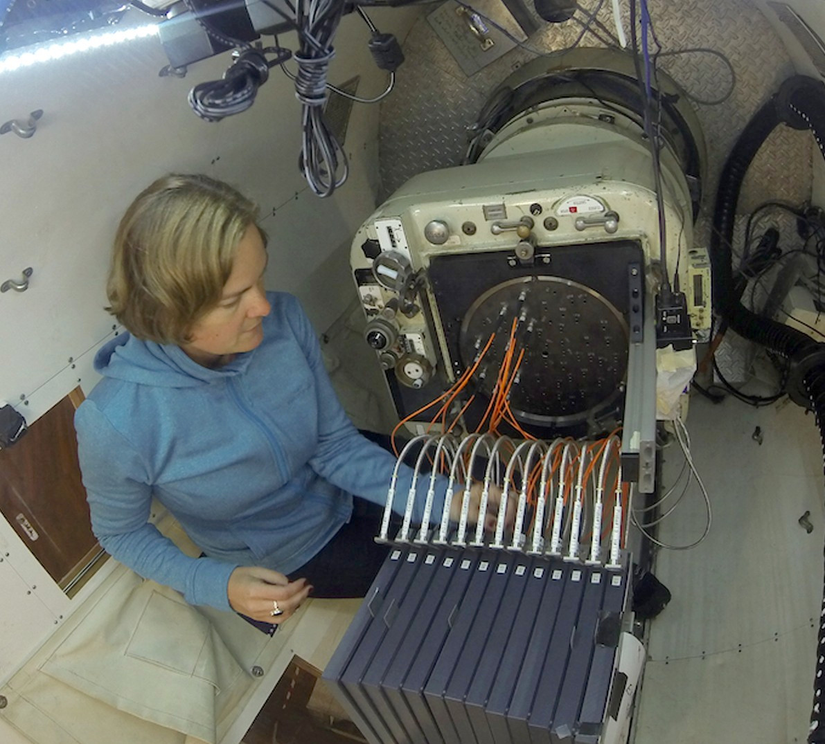 Amanda Bauer configuring the SAMI instrument for a night of observing with the 3.9-metre Anglo-Australian Telescope. Image credit: Amanda Bauer/AAO.
