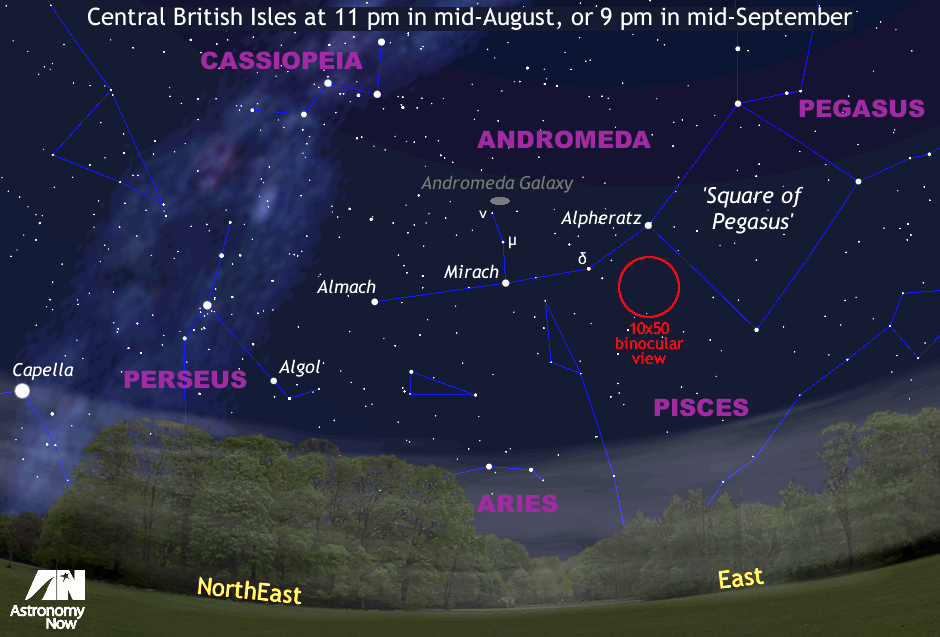 Mid-August was open season for the Andromeda Galaxy, or M31 — arguably one of the best deep-sky objects for Northern Hemisphere observers. This is a quadrant of the sky centred on the east-northeast horizon as seen from the UK at 10pmBST on 1September, or 8pm by the end of the month when the Moon is again near new. The view is 90 degrees wide, or four times the span of an outstretched hand at arm's length. The red circle represents the field of view of a typical 10x50 binocular for scale. (Click the graphic for a larger view.) ANgraphic by AdeAshford.