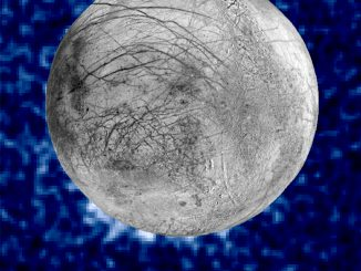 This composite image shows suspected plumes of water vapour erupting at the 7o'clock position off the limb of Jupiter's moon Europa. The plumes, photographed by NASA's Hubble's Space Telescope Imaging Spectrograph, were seen in silhouette as the moon passed in front of Jupiter. Hubble's ultraviolet sensitivity allowed for the features  rising over 100miles (160kilometres) above Europa's icy surface — to be discerned. The water is believed to come from a subsurface ocean on Europa. The Hubble data were taken on 26January 2014. The image of Europa, superimposed on the Hubble data, is assembled from data from the Galileo and Voyager missions. Image credits: NASA/ESA/W. Sparks (STScI)/USGS Astrogeology Science Center.