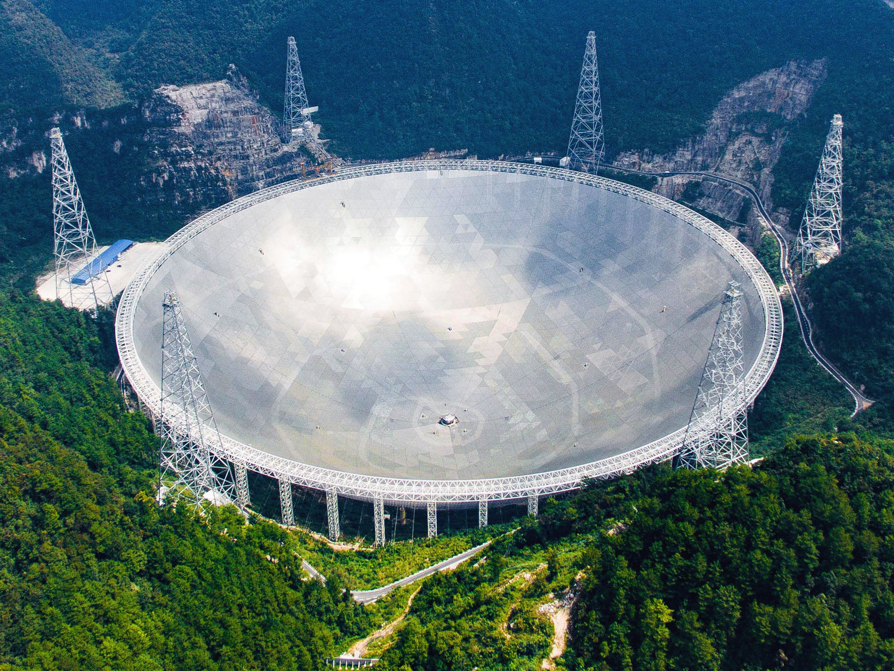 The Five-hundred-metre Aperture Spherical Telescope (FAST) in the southwestern province of Guizhou, China is now operational. Image credit: Xinhua News Agency.